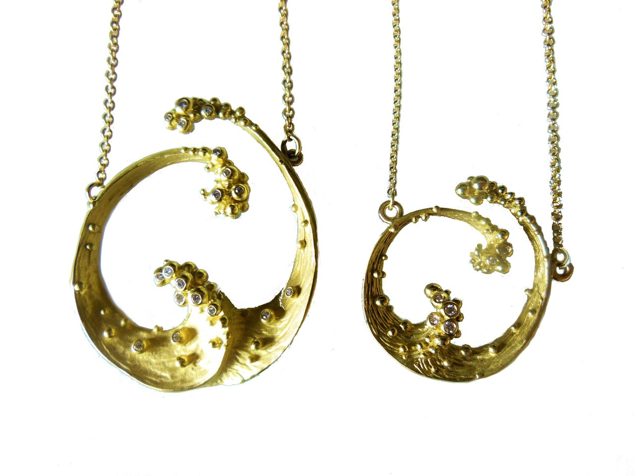 Ocean Necklace-Small-14K gold with diamonds