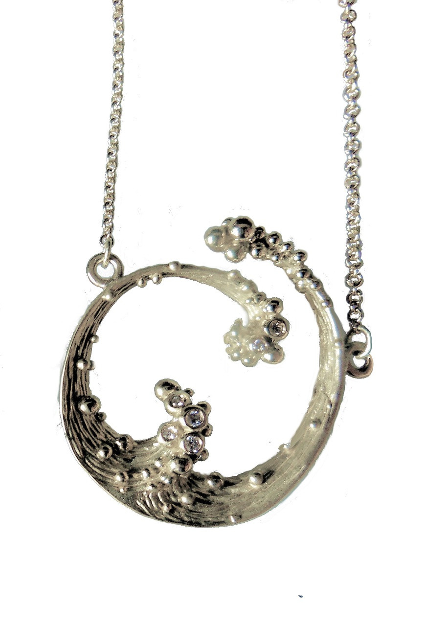 Ocean Necklace-Small-Sterling silver with diamonds and plate options