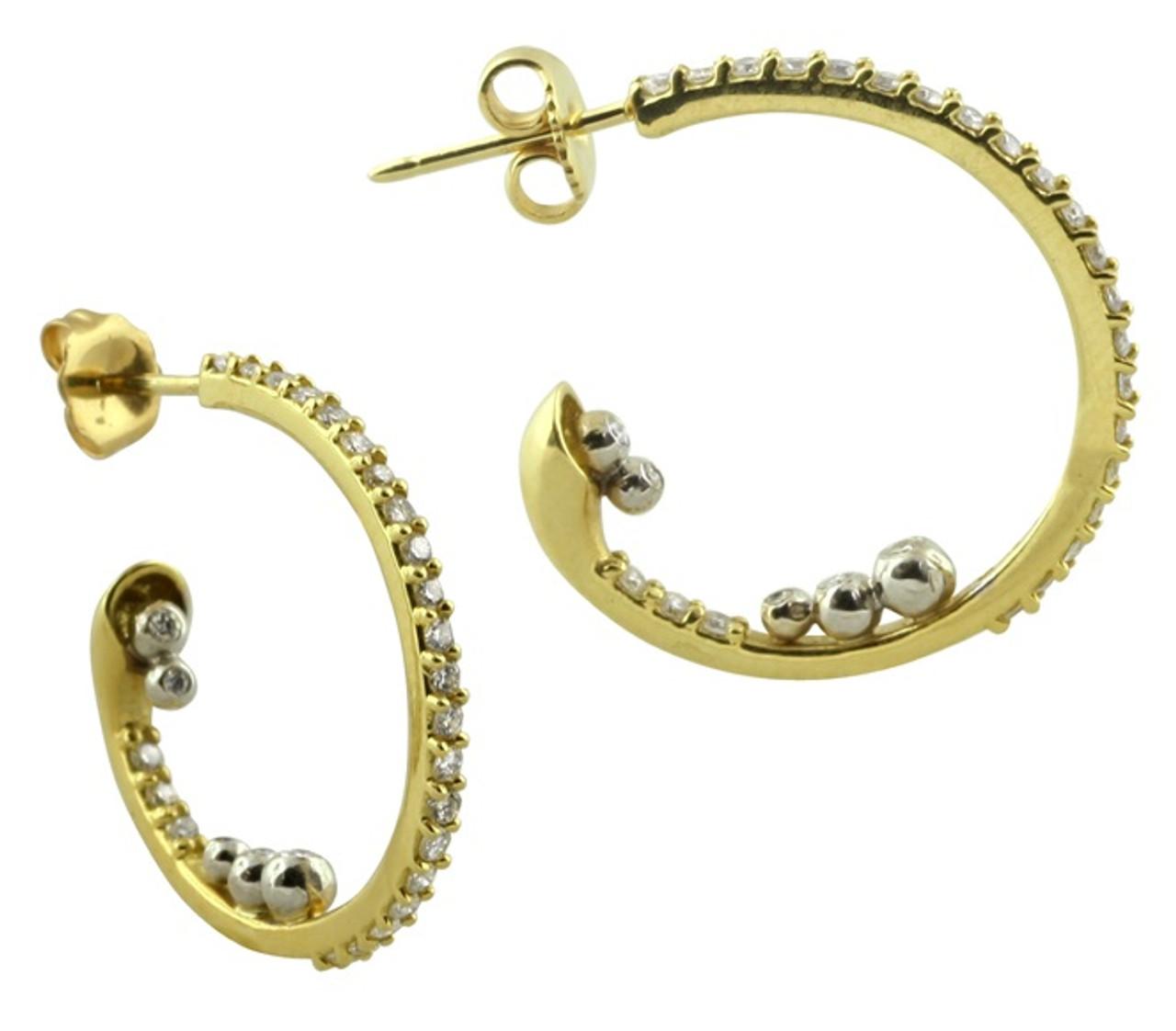 Abundance Hoop-18k gold with Diamonds in an abundance overflow