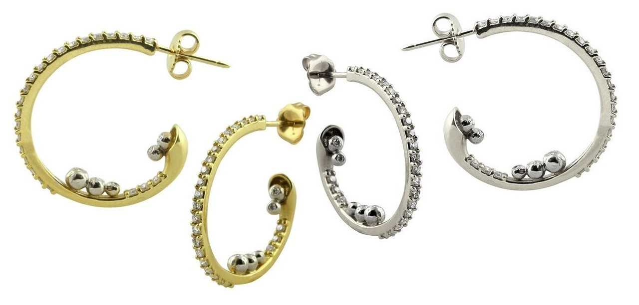 Abundance Hoop-Sterling with Diamonds in an abundance overflow