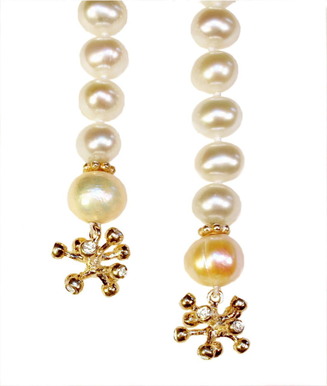 Pearl Lariat-Starburst tips in 18K and diamonds