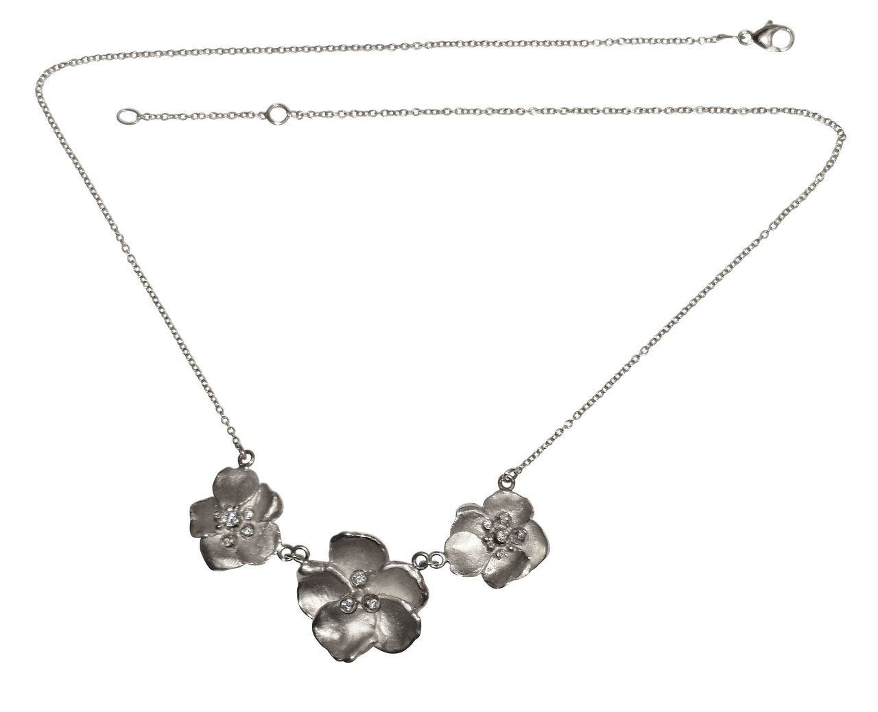Metal Petals- Three Pansy Necklace-Sterling Silver with