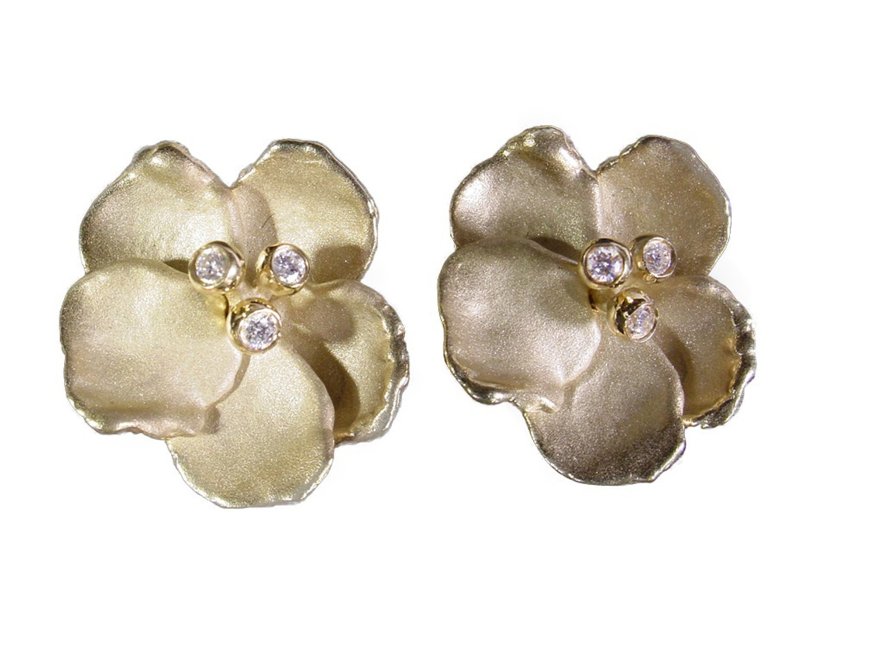 Metal petals- Pansy earring-Large-14k