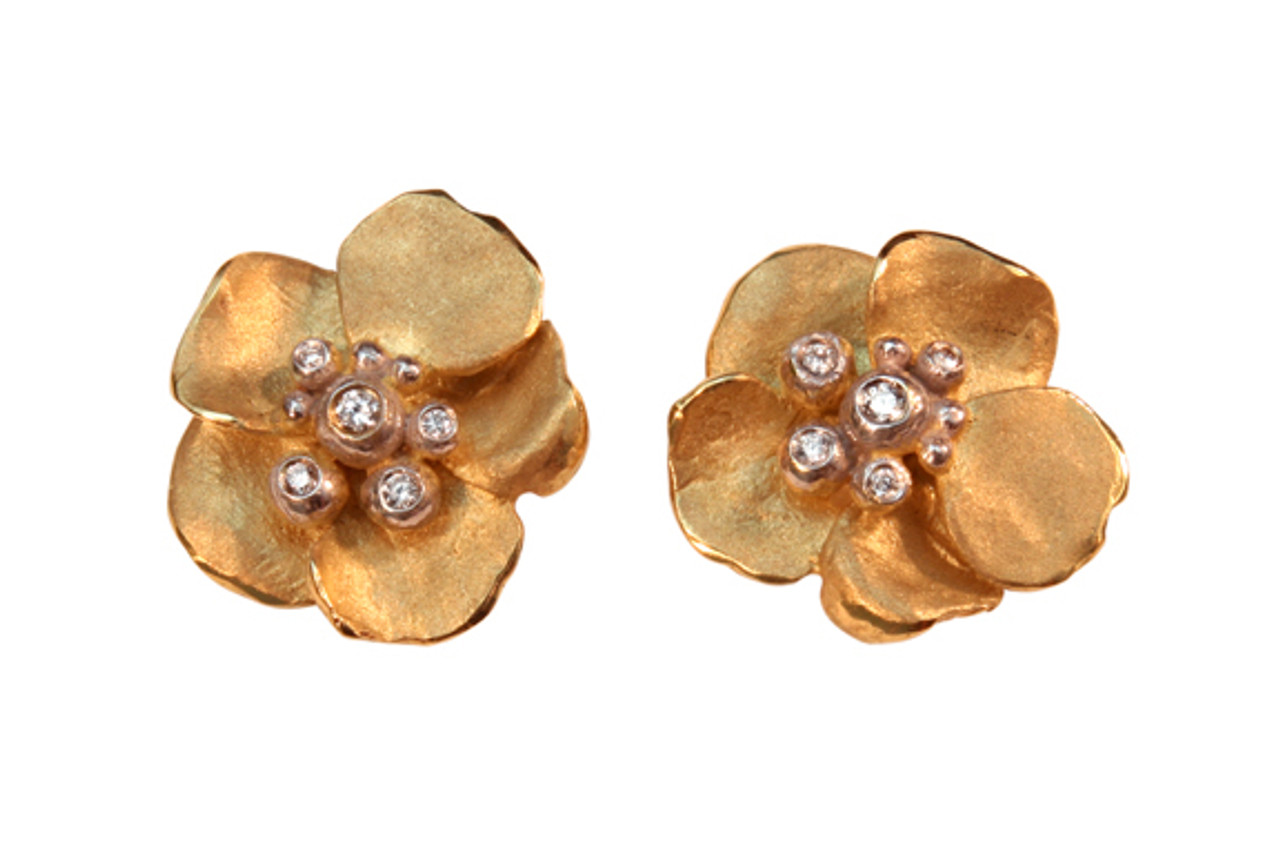Metal petals- Pansy Earring-Small-14K
