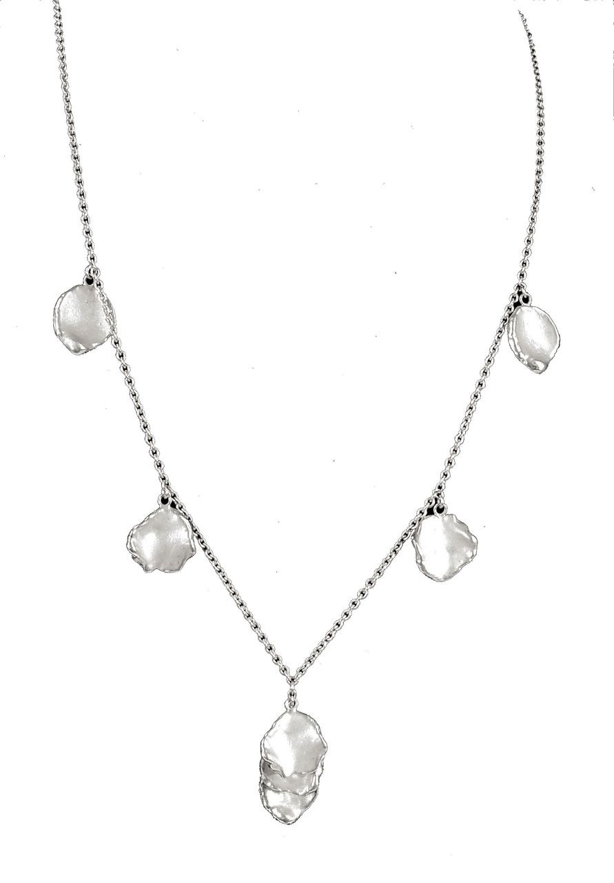 Metal petals-necklace-Sterling with plate options