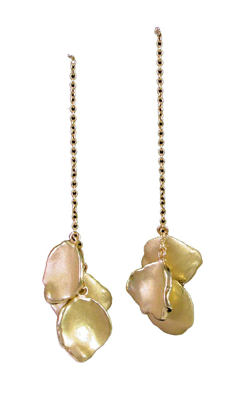 Metal petals- earrings-14K