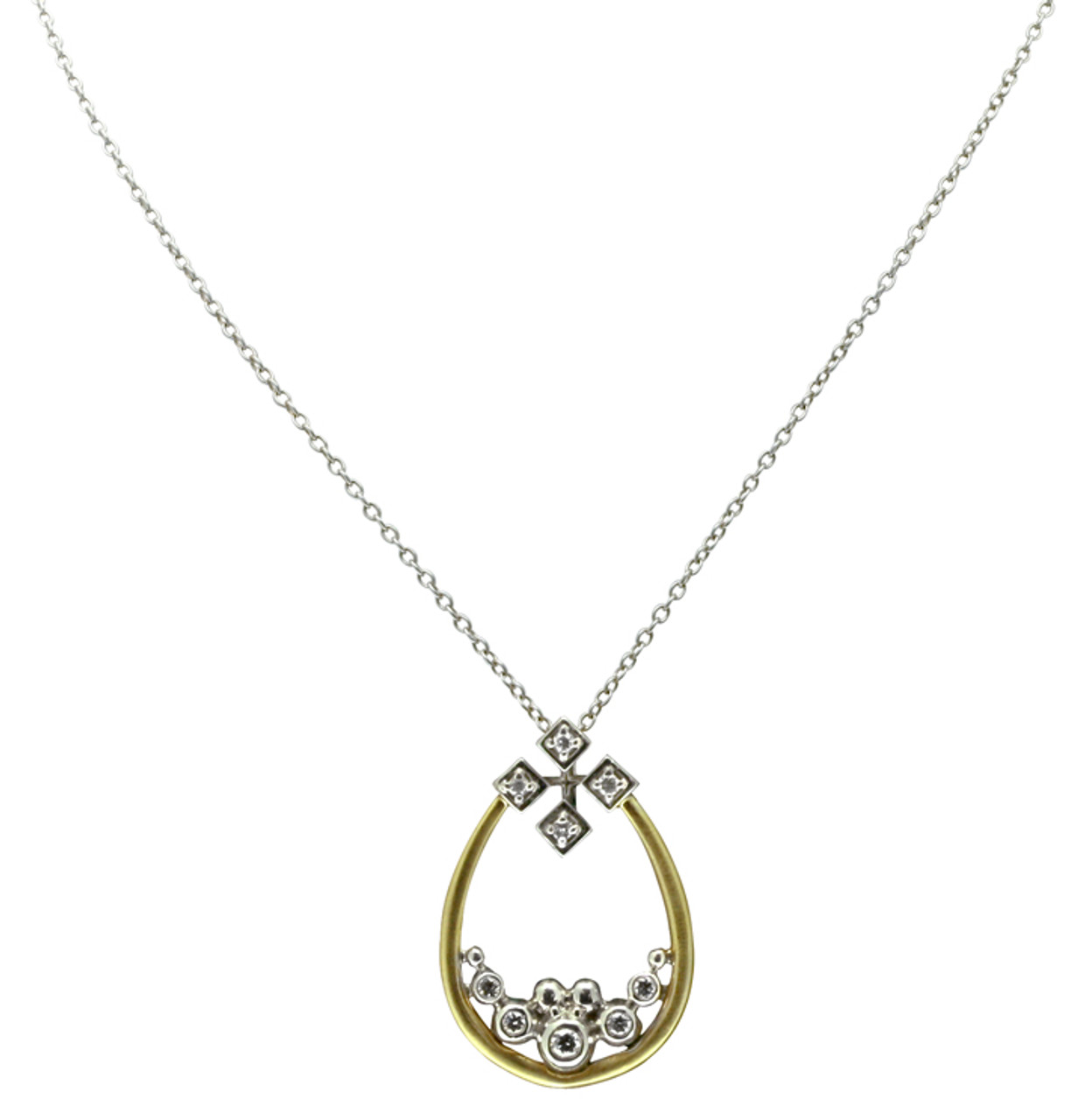 Pyramid tear necklace- in white and yellow gold with diamonds.