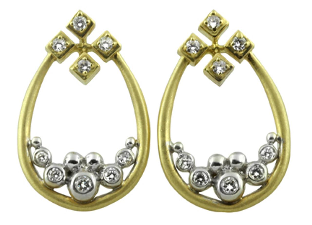 Pyramid Tears Earrings-14K