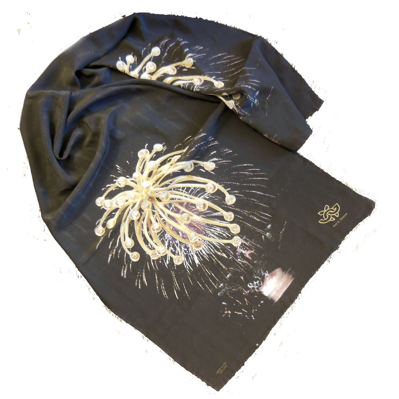 Silk Scarf on the night sky featuring the Superstar Fireworks pendant necklace, showing whole scarf a little crumpled