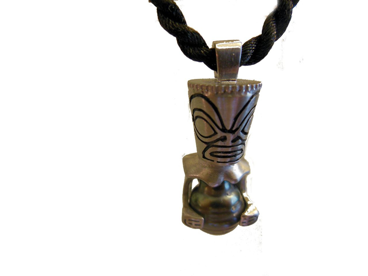 Tiki with Baroque Tahitian Pearl belly-pendant
