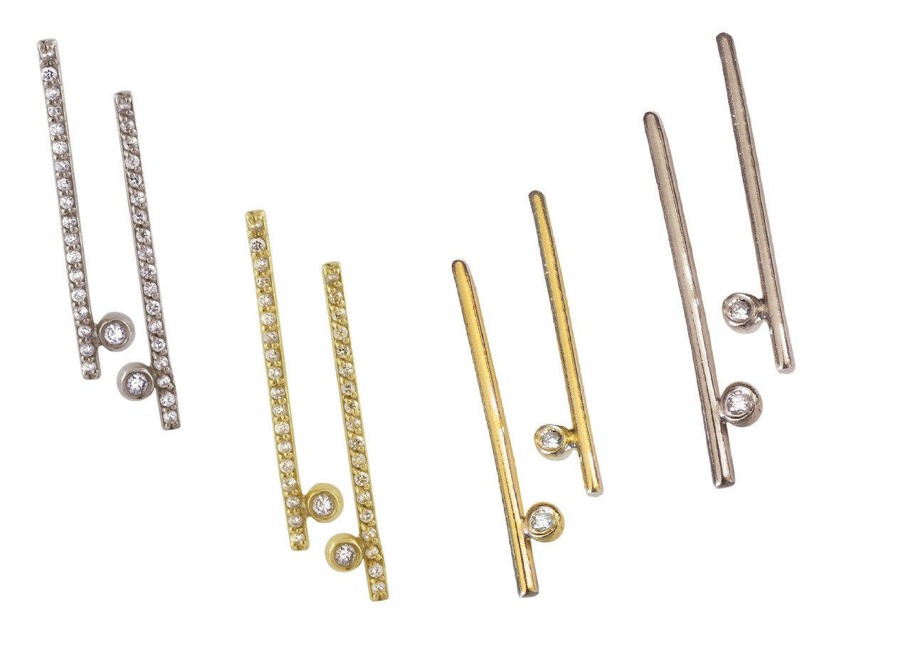 Dot Line 14k Gold Diamond Inspirational Earrings
