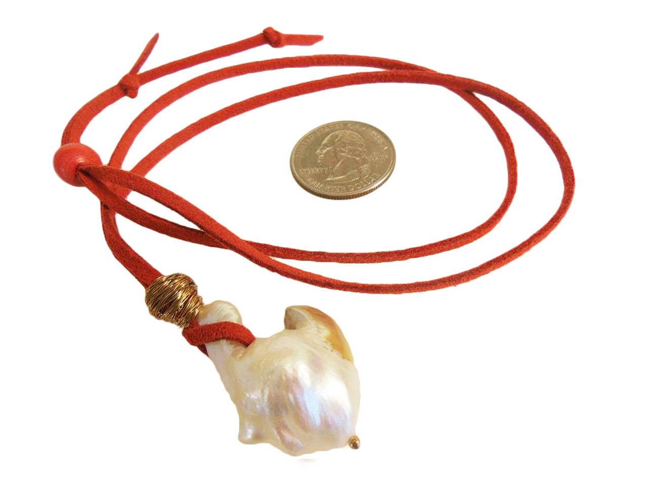 Throwaway Elegance and a Little Bit of WOW!!!  Jumbo Pearl-18 on orange cord with carnelian