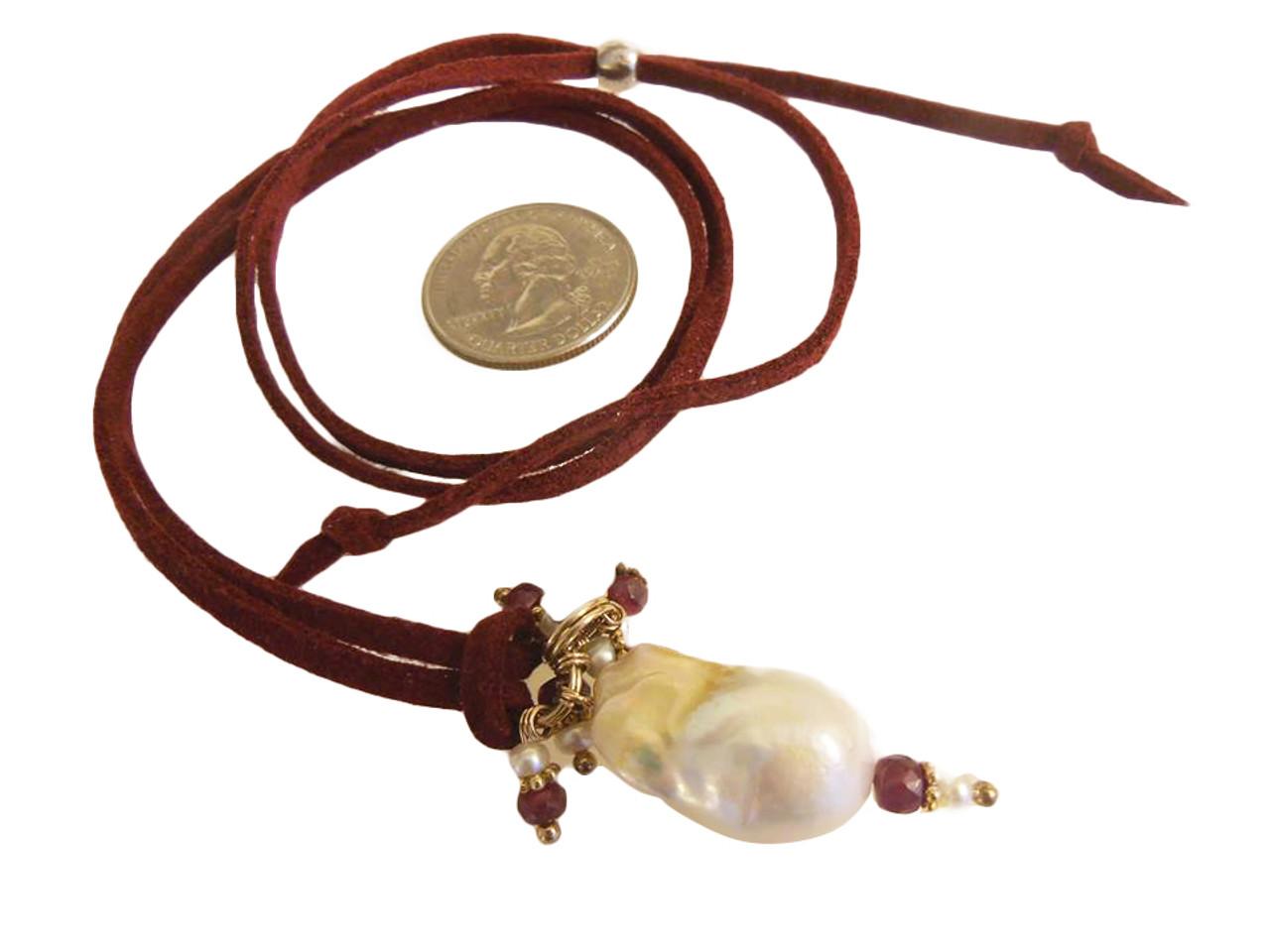 Throwaway Elegance and a Little Bit of WOW!!!  Jumbo Pearl-19 on burgundy cord with rubies