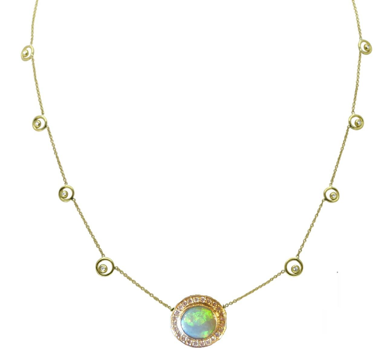 Australian Opal with diamonds on Karma Chain