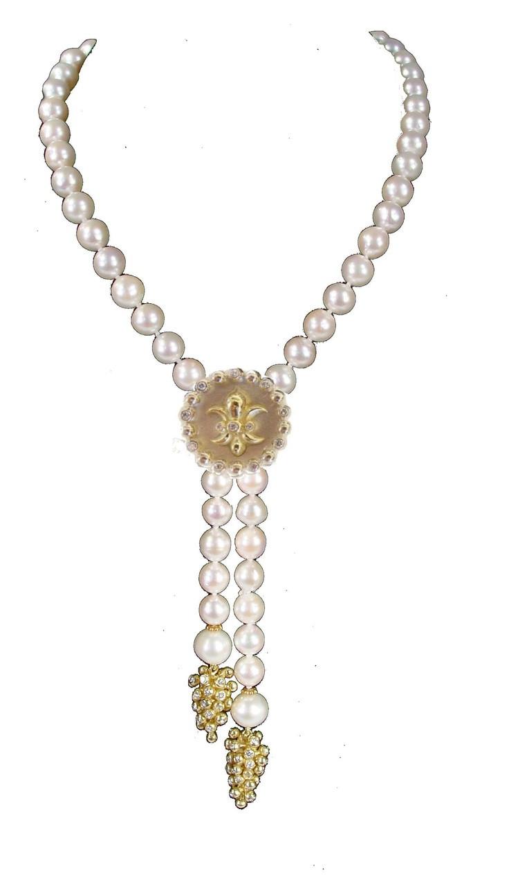 Fleur de lis pendant or pearl enhancer aloadofball Choice Image