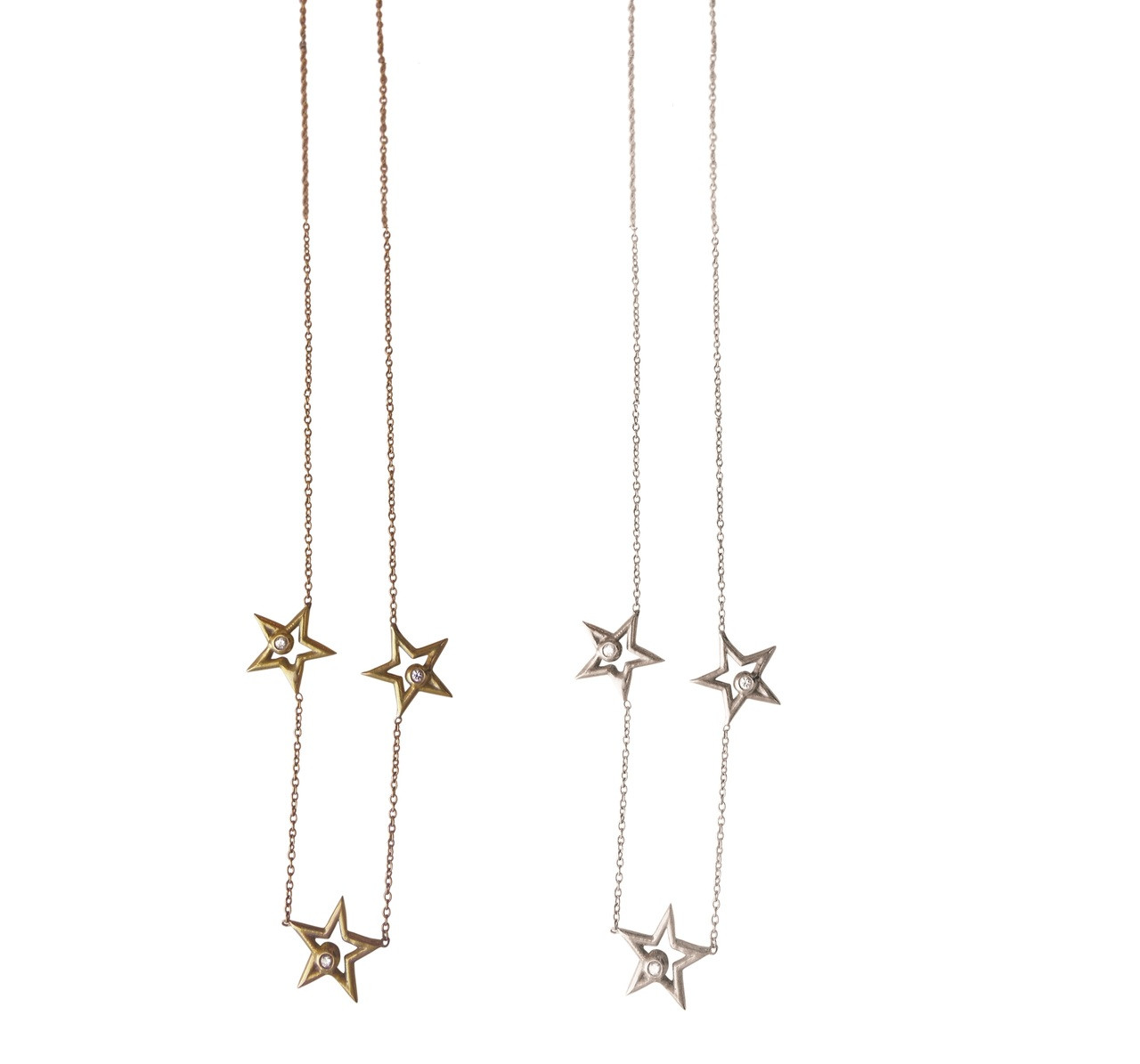 Stars- Three Stars Necklace-18K gold with diamonds