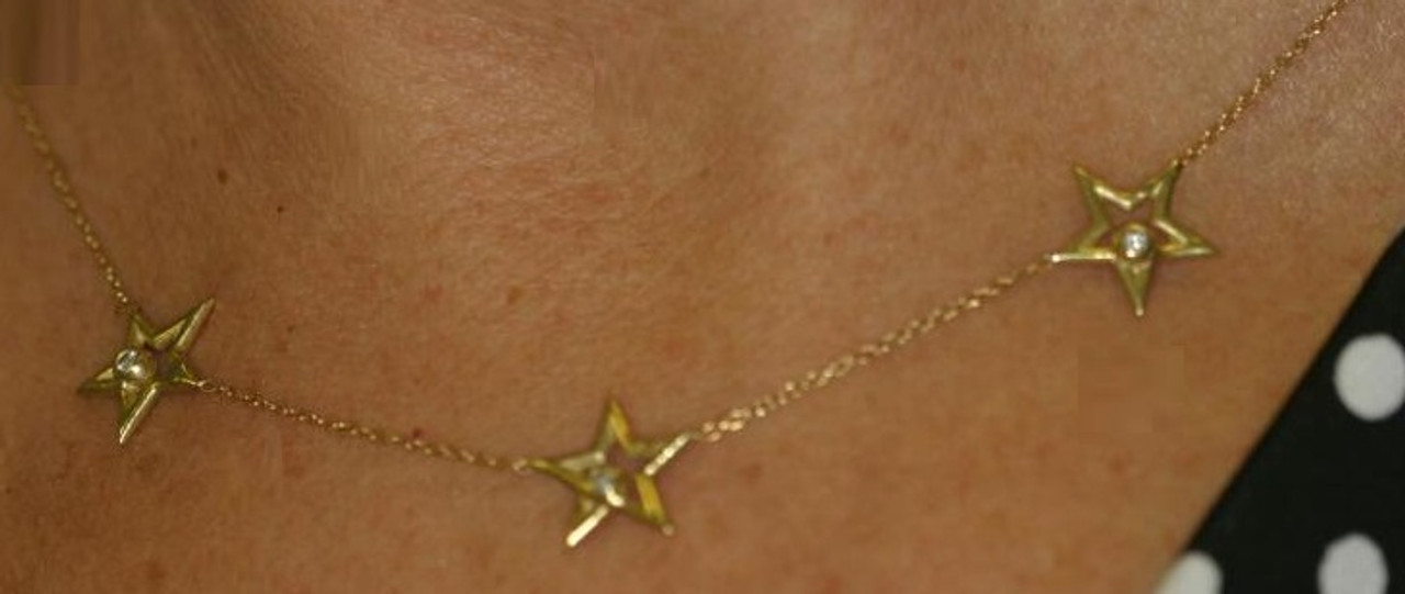 Stars- Three Stars Necklace-14K gold with diamonds