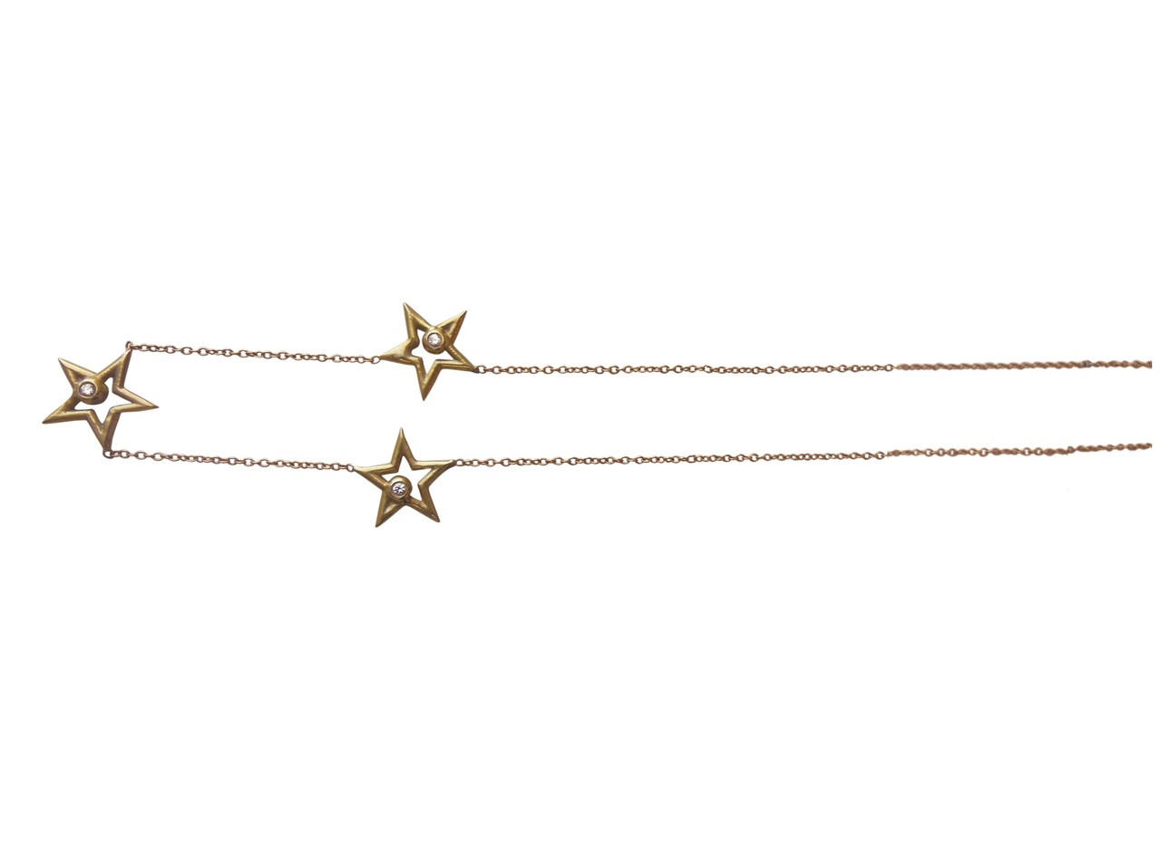 Stars- Three Stars Necklace-Sterling Silver & diamonds, gold or rhodium plate