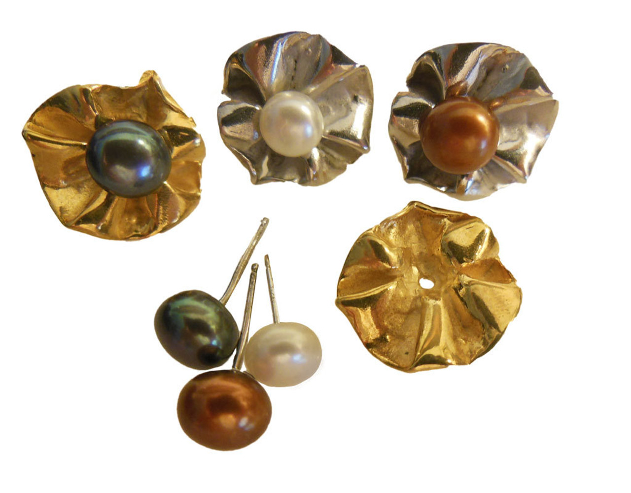 Ruffle Earring Jackets (2 sets) with 3 pearl stud earrings.   Silver and 18K gold plate.