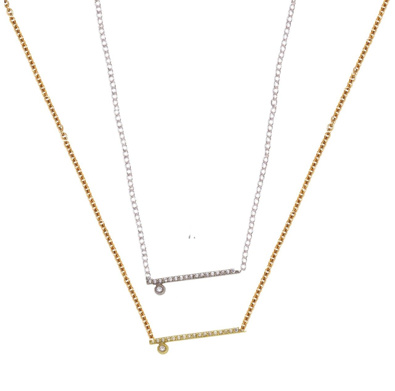 Dot & Line- Sterling & diamond Necklace