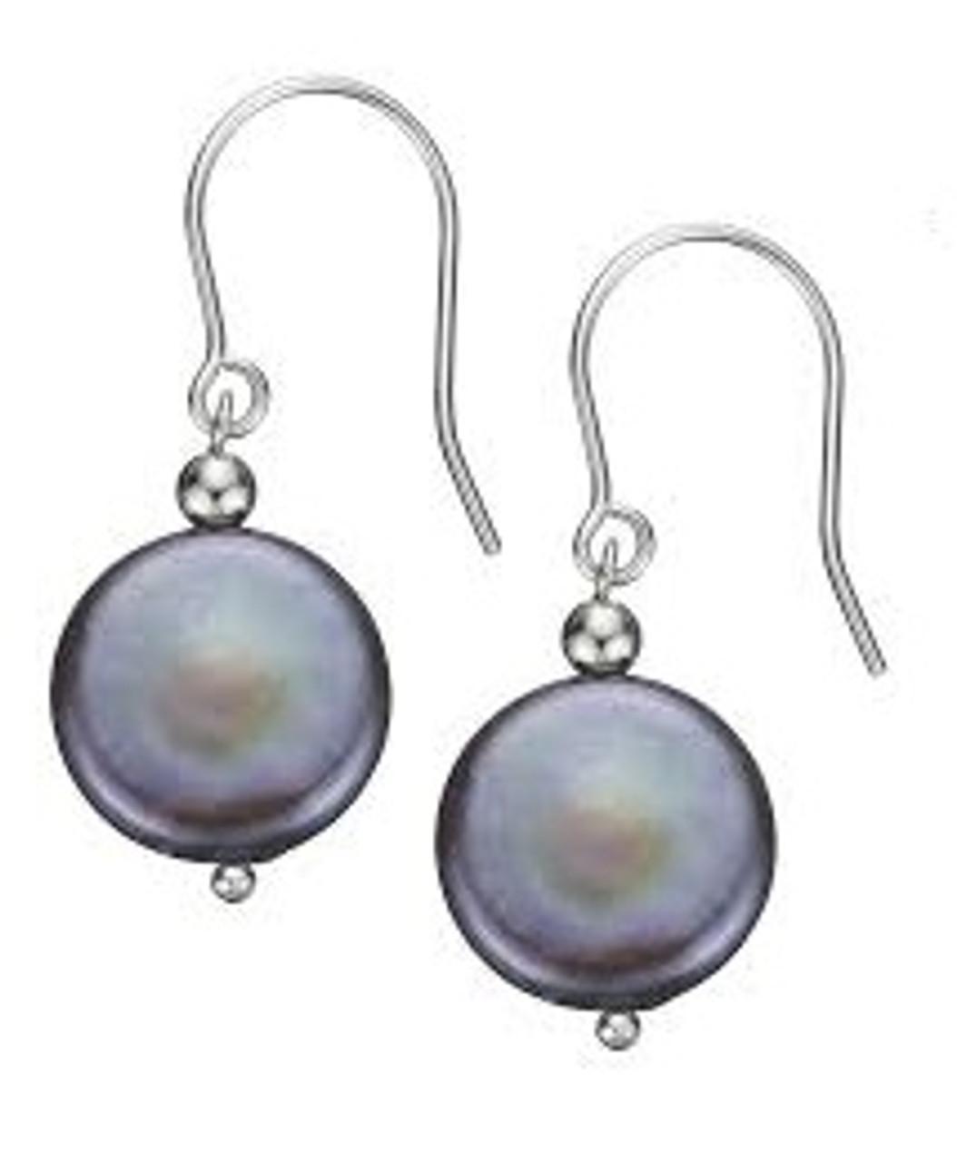Coin Pearl Earrings-Grey