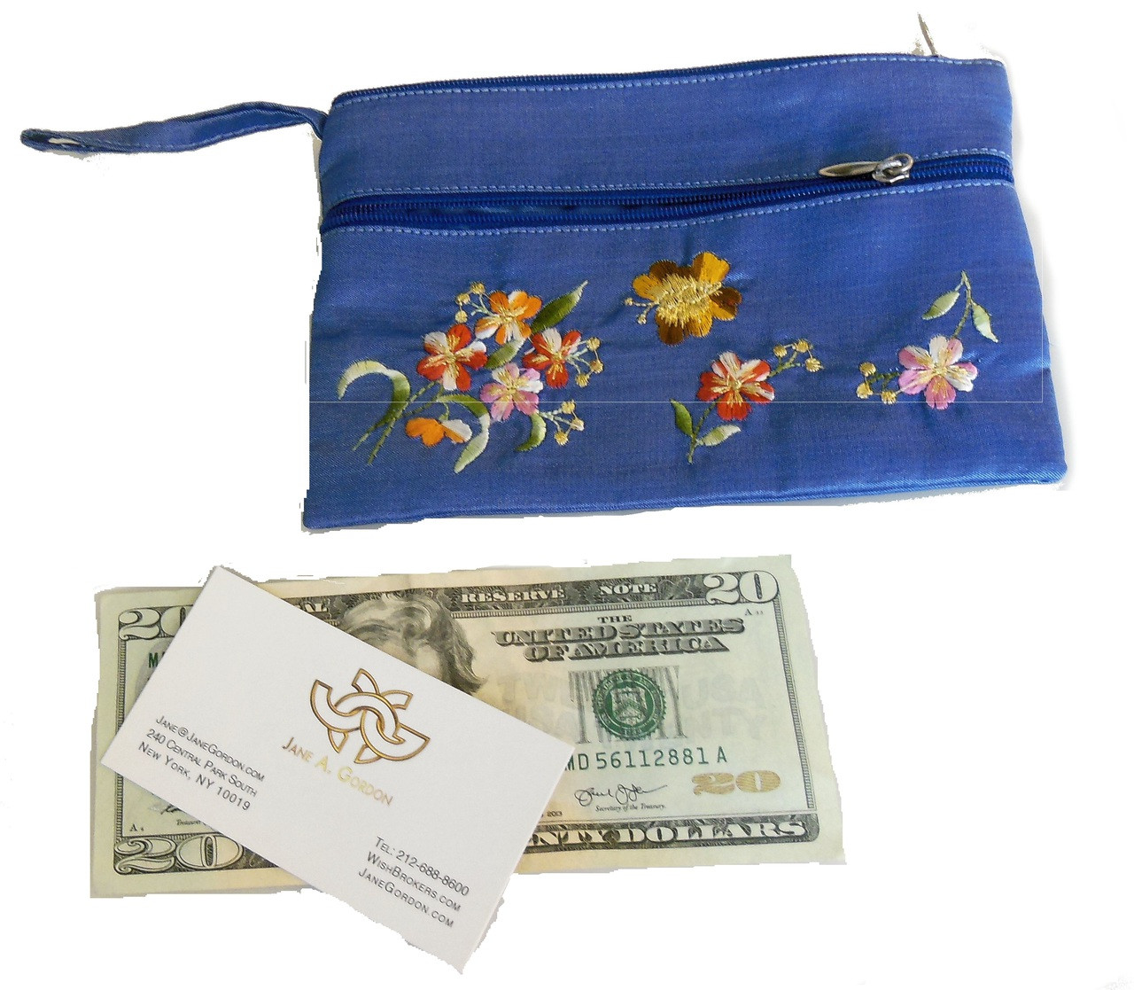 Embroidered purse/ wallet from Vietnam. Blue