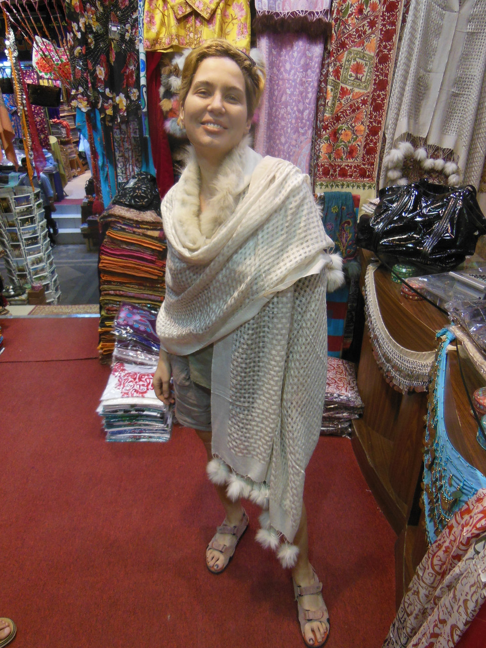 Pashmina from Oman. Fur Collar and Pom Pom Trim-Creamy Taupe