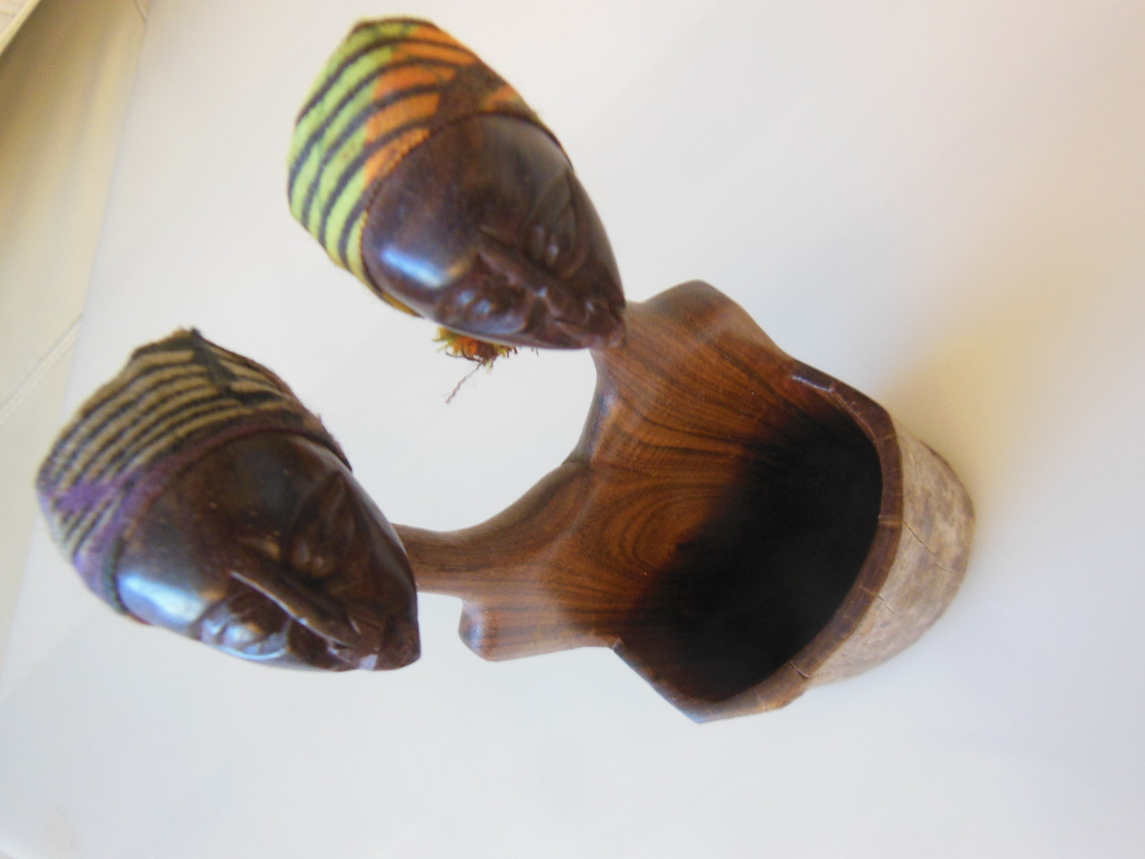 African Couple, People Pot-Wood Carving from Maputo, Mozambique