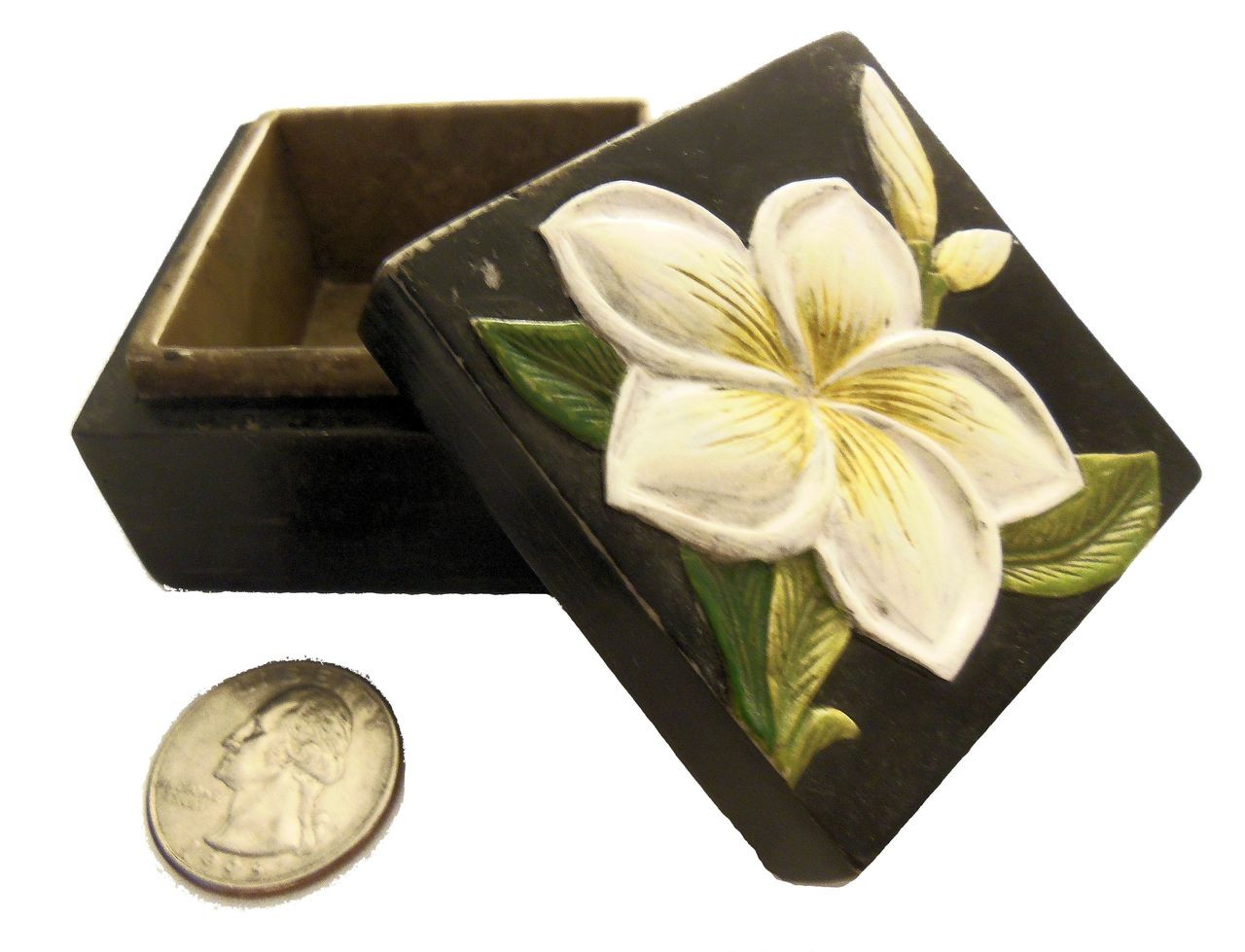 Carved Marble Box- Single Flower- from Vietnam
