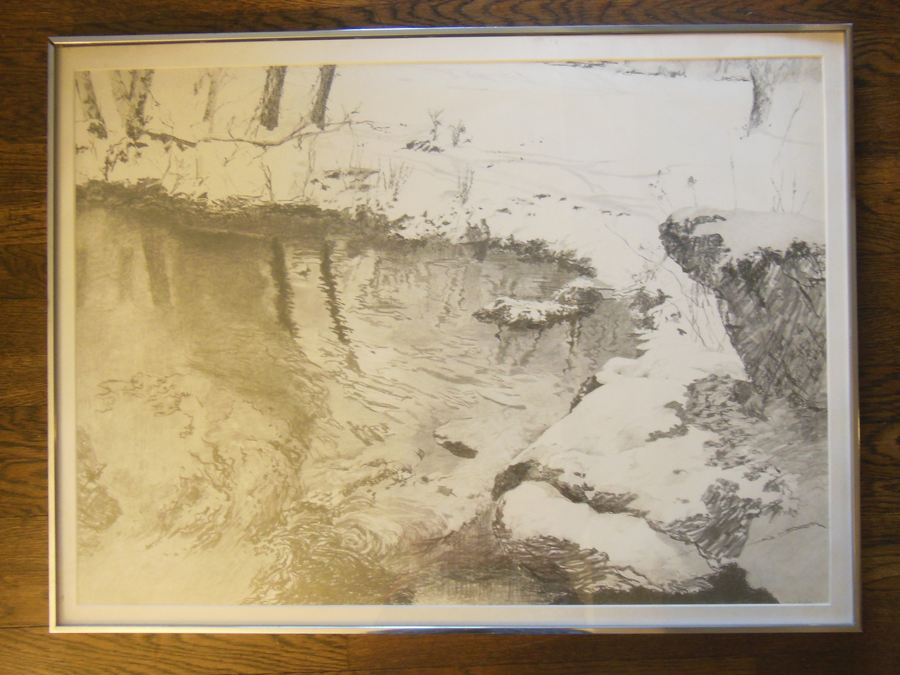 Carol Kardon. Snowy Stream Scene. Framed drawing