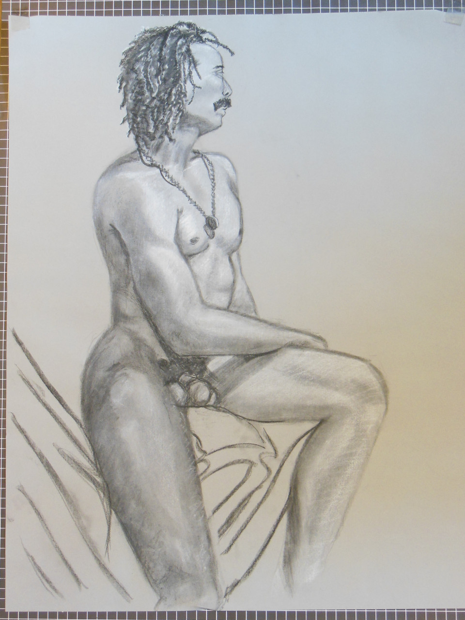 Nude Drawing: Charcoal & pastel on grey paper. 01 Jazz