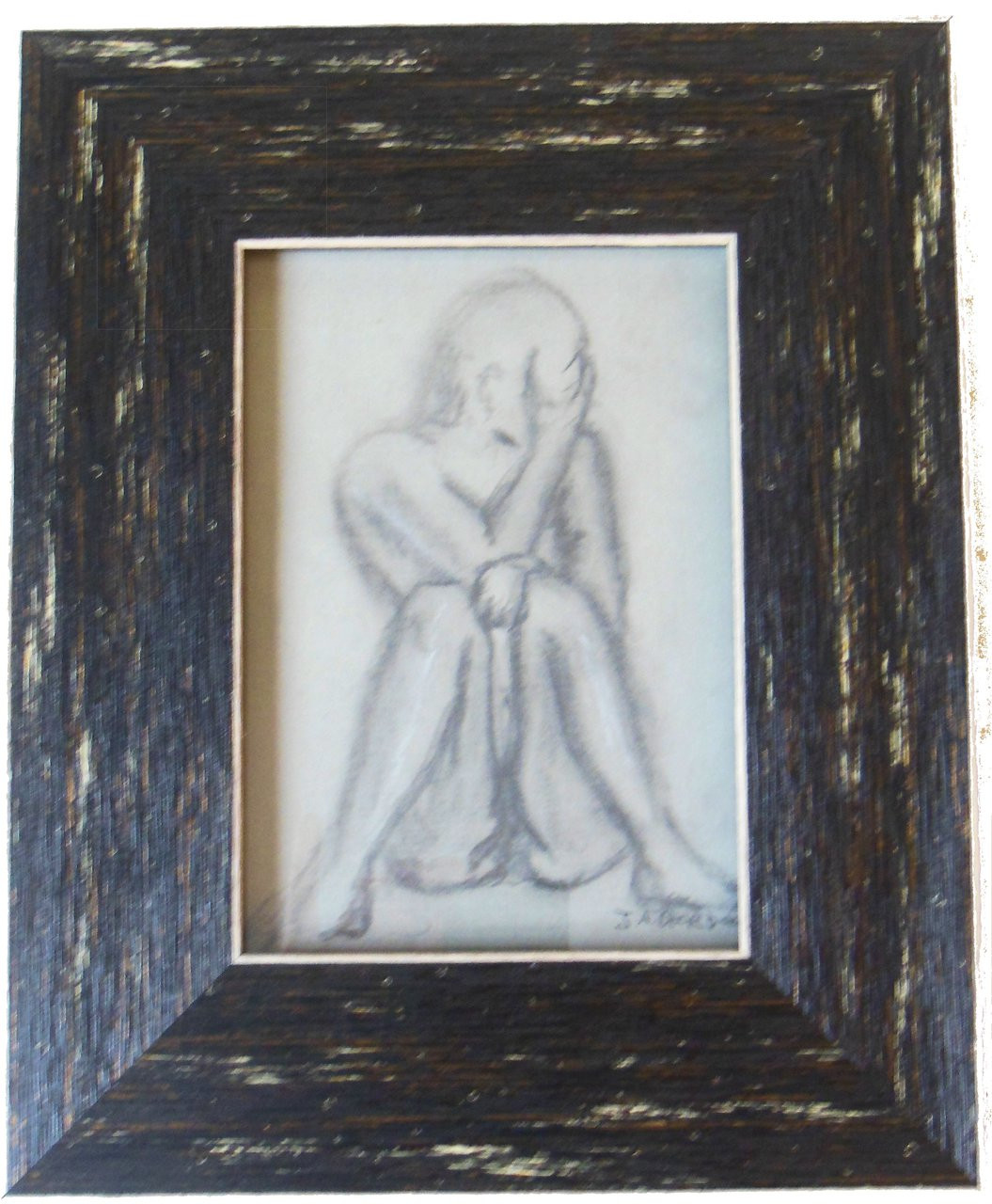 OMG #1 of 2.  Framed charcoal and pastel on paper by Jane A Gordon