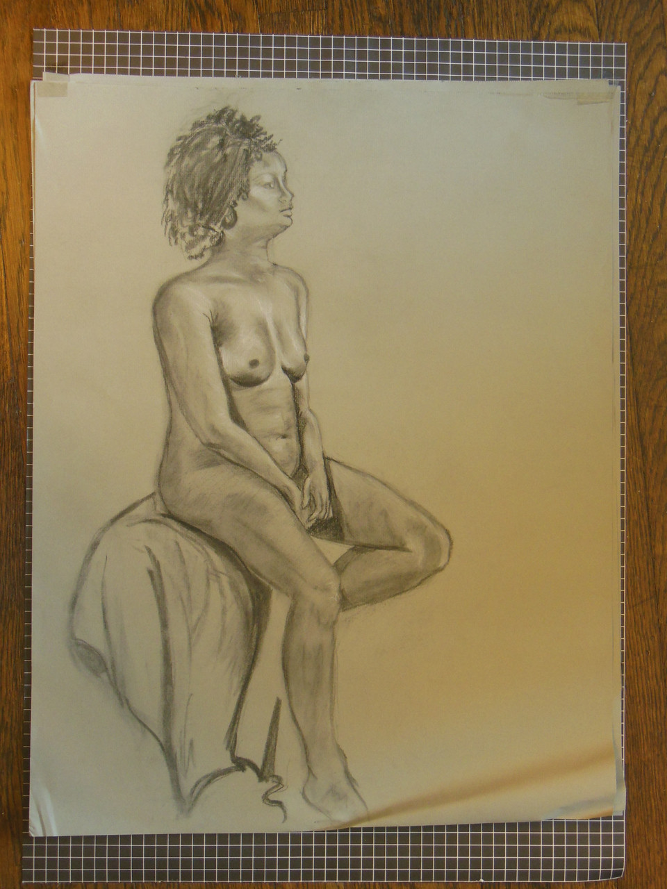 Nude Drawing: Charcoal & pastel on grey paper. 03