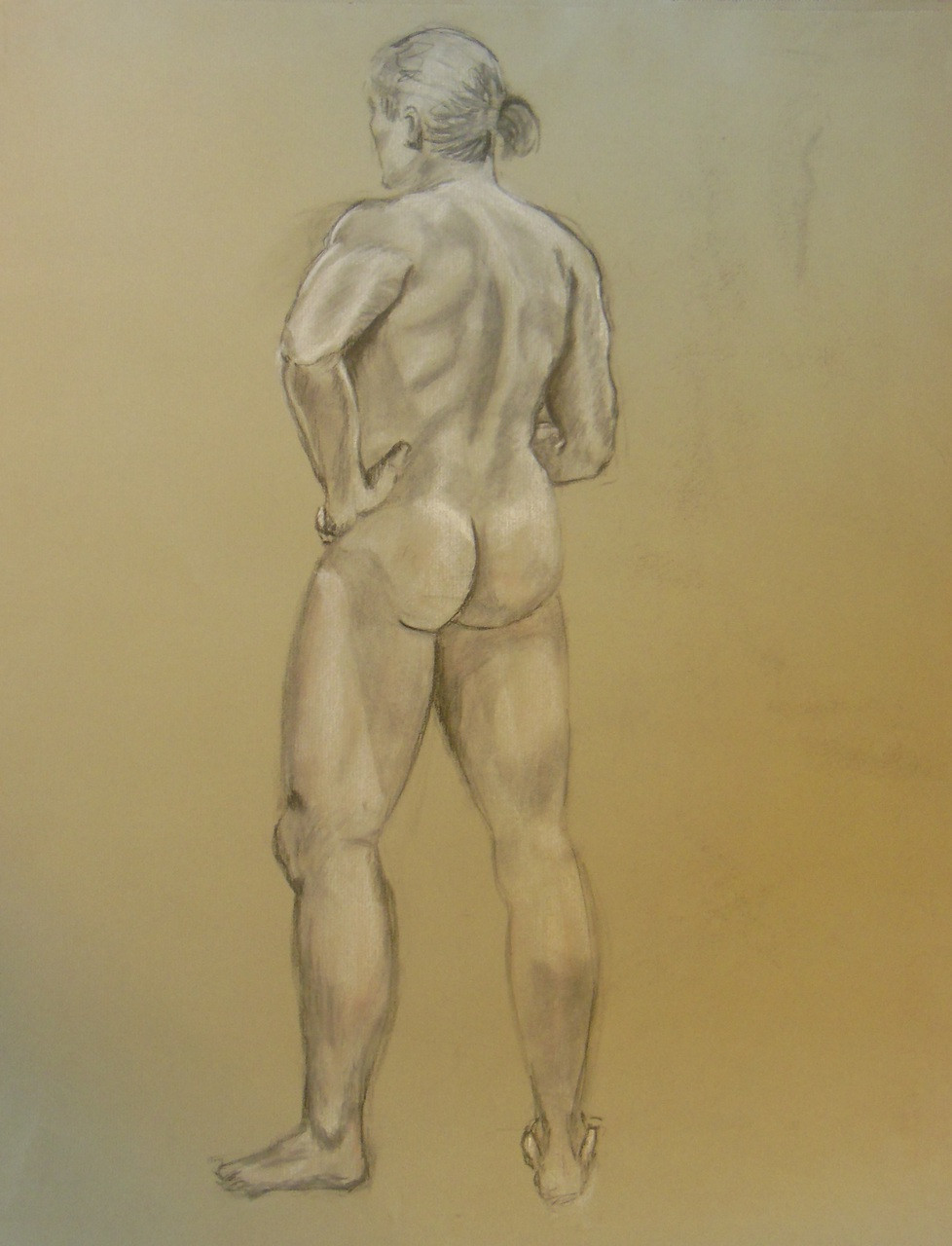 Nude Drawing: Charcoal & pastel on grey paper. 04