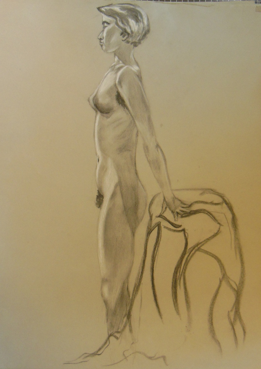 Nude Drawing: Charcoal & pastel on grey paper. 05