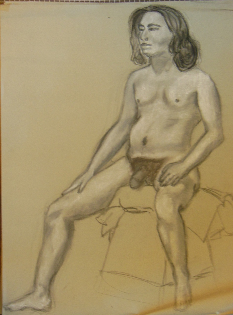 Nude Drawing: Charcoal & pastel on grey paper. 07