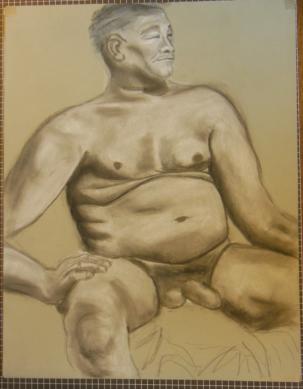 Nude Drawing: Charcoal & pastel on grey paper. 10