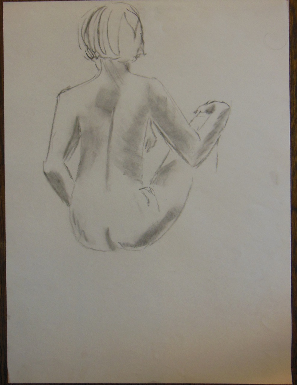 Unfinished Nude Drawing: Charcoal & pastel on grey paper. 11