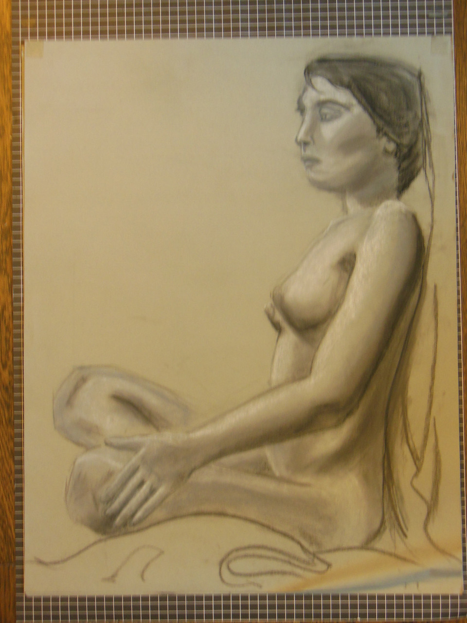 Nude Drawing: Charcoal & pastel on grey paper. 12