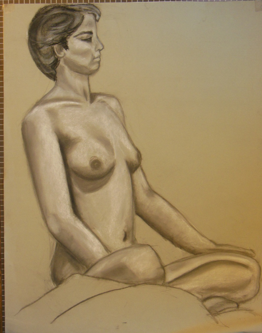 Nude Drawing: Charcoal & pastel on grey paper. 13