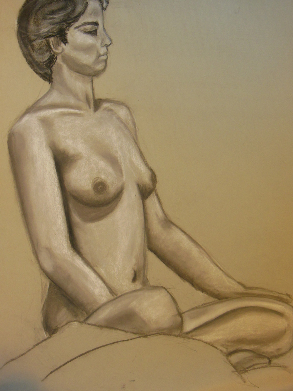 Nude Drawing: Charcoal & pastel on grey paper. 15