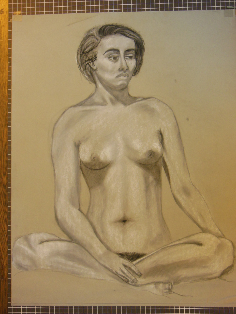 Nude Drawing: Charcoal & pastel on grey paper. 17