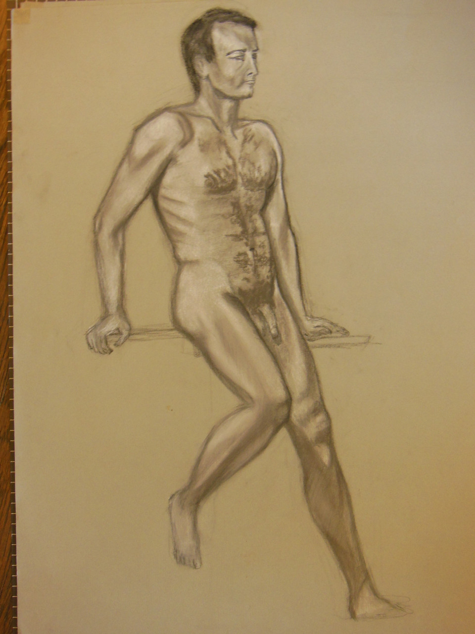 Nude Drawing: Charcoal & pastel on grey paper. 18