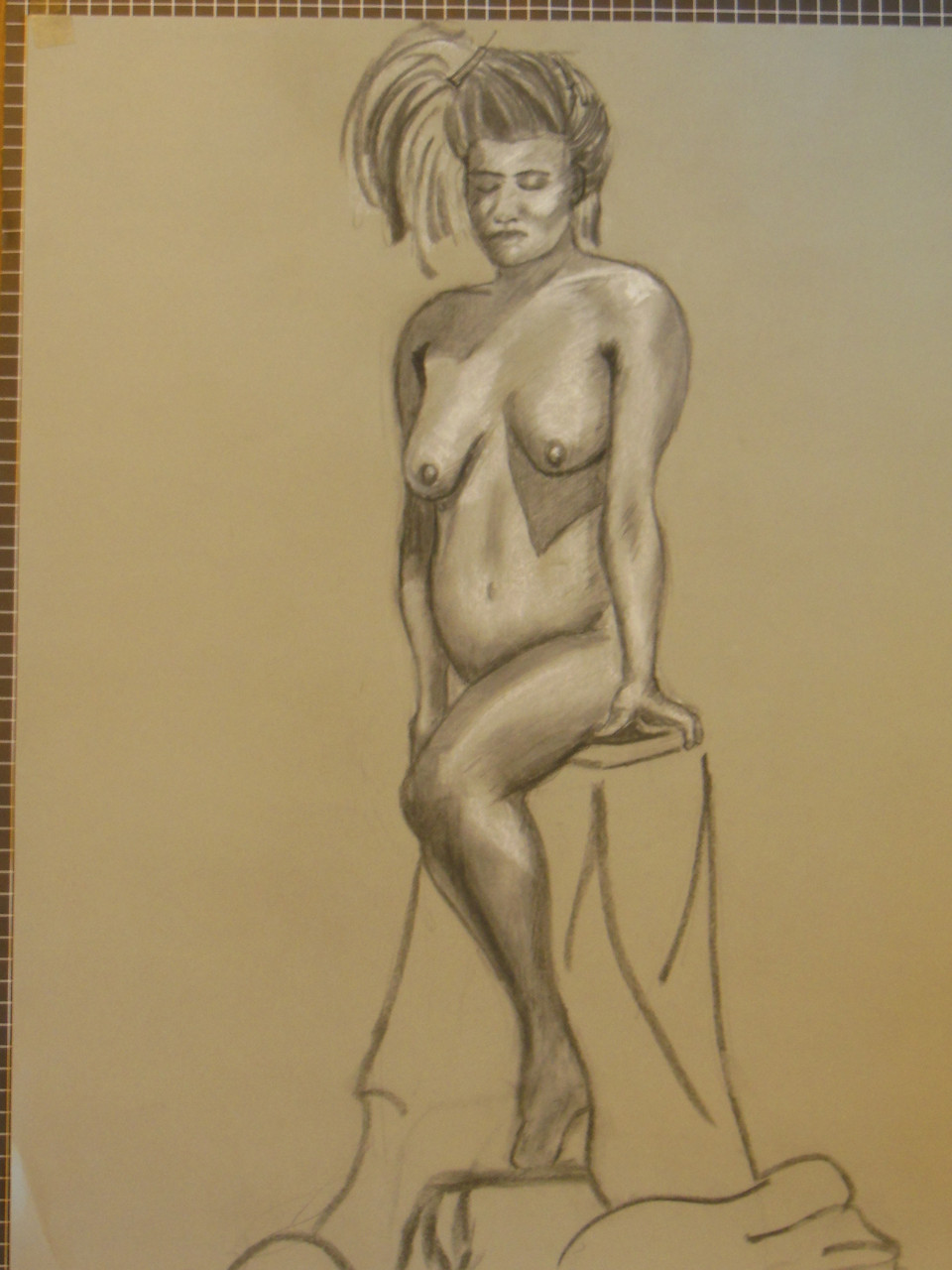 Nude Drawing: Charcoal & pastel on grey paper. 20