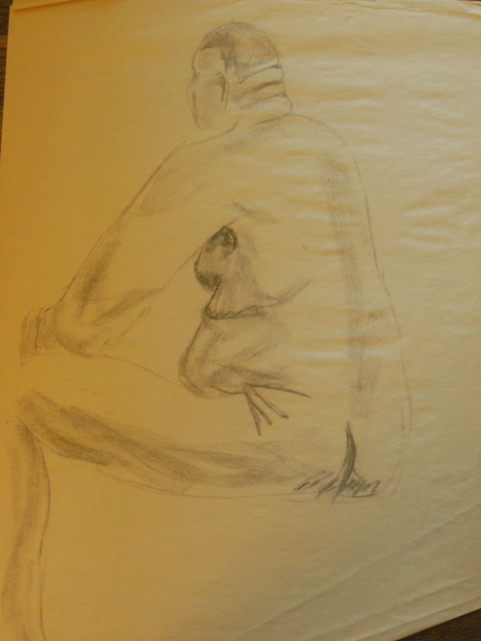Unfinished Nude Drawing: Charcoal & pastel on grey paper. 22