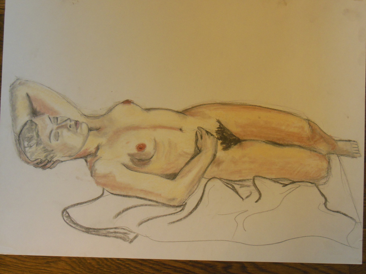 Nude Drawing: Charcoal & pastel on grey paper. 23