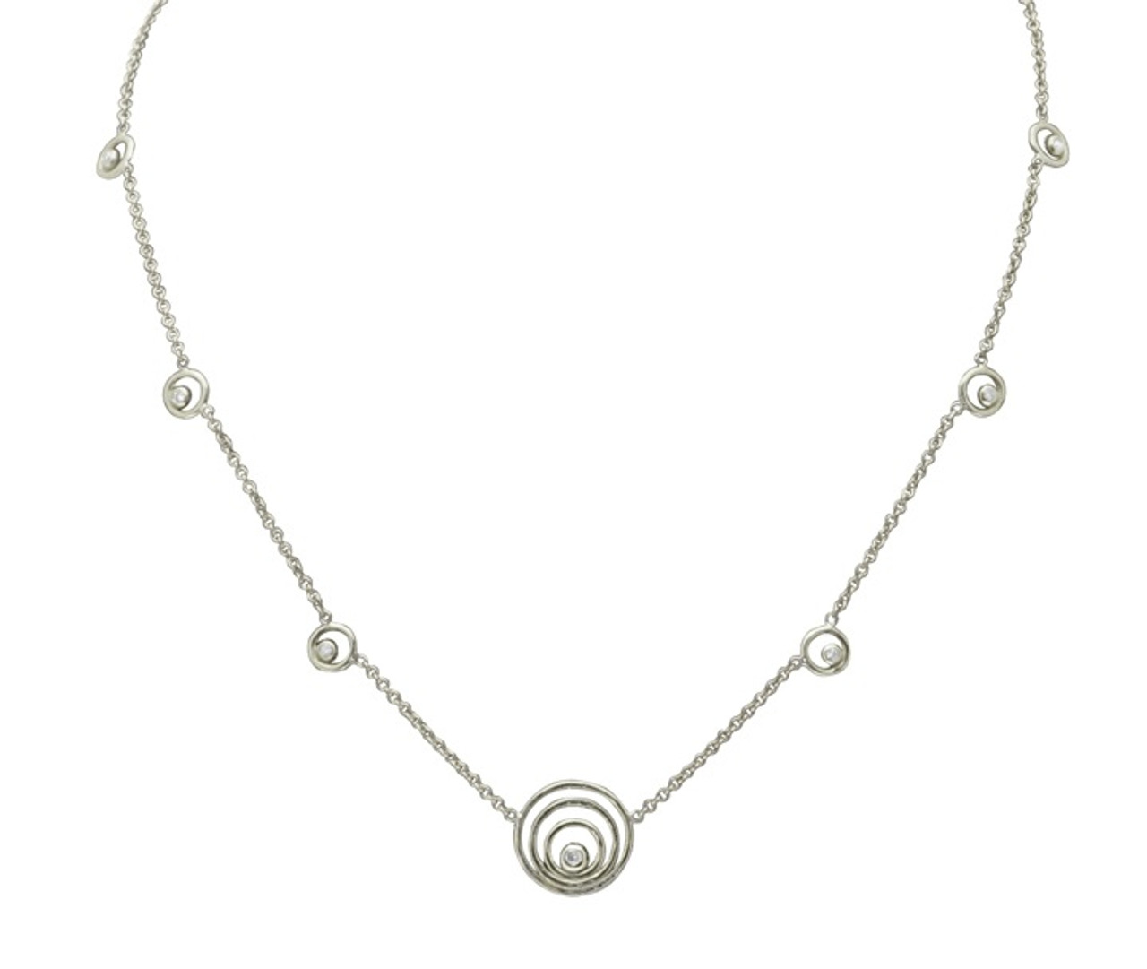 Karma ripples necklace- small Sterling Silver with diamonds