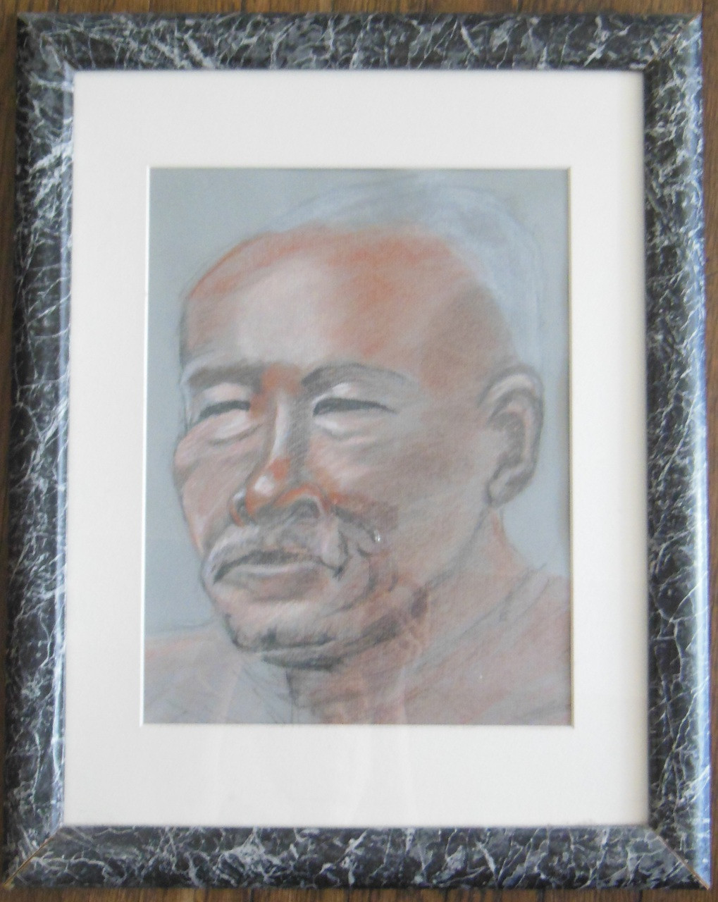 Clinton - Pastel and charcoal on paper - Framed