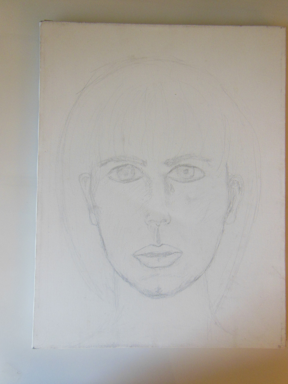 Unfinished Self Portrait with tear. Pencil on paper