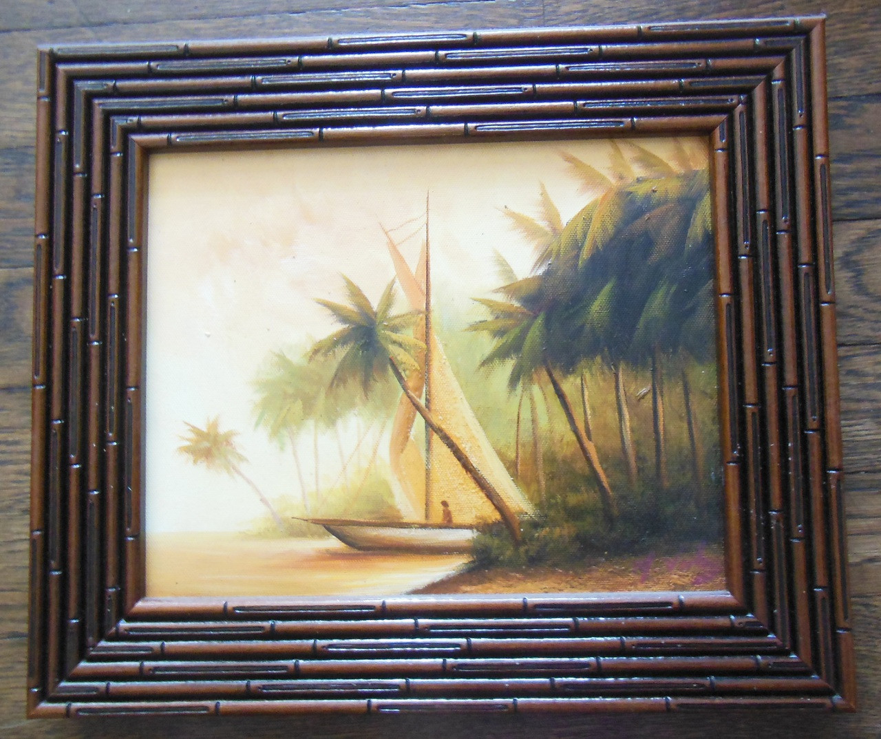 Peaceful Palm Trees in the Bahamas.  Framed